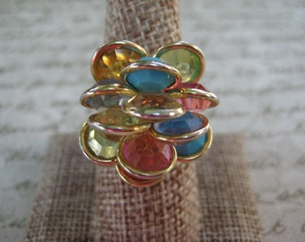vintage multi color cluster ring, adjustable, gold tone, vintage ring, vintage jewelry, reclaimed vintage, gift for her, statement ring