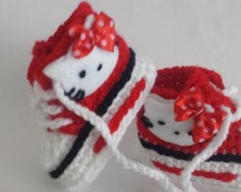 Baby crochet shoes handmade trainers-Hello kitty