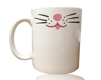 Coffee Mug White Cat Whiskers, hs0224