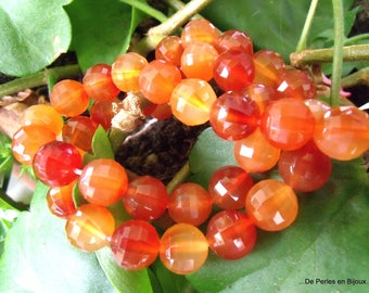 5 beads faceted round 10mm orange CARNELIAN superior quality - REF. 6619105