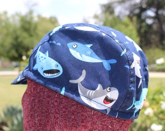 cycling cap  sharky cotton print   size M/L handmade in USA