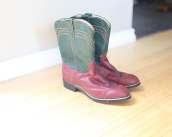 vintage maroon & green leather cowboy boots womens 7