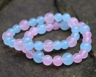 A pair beaded bracelet pink sky blue carnelian women girl bracelet