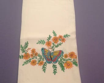 Vintage dish towel Hand painted dish towel Kitchen towel Linen dish towel