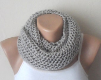 gray knit infinity scarf gray circle scarf loop scarf winter scarf knit scarf woman scarf