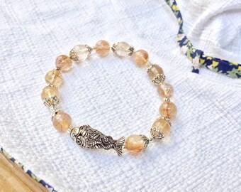 Natural Golden Brown Rutilated Quartz and Koi Fish 925 Thai Silver Charm Bracelet,gemstone,jewelry,natural,brown,genuine,hair quartz,crystal