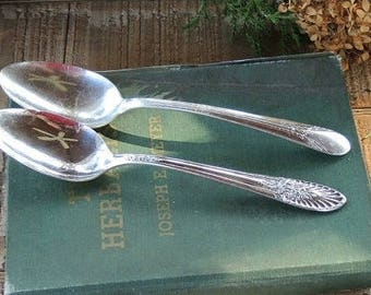 Vintage Rogers Mismatched Silver Plated Tablespoons Spoons Set of 2, Tea Party, Replacement Flatware