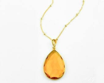 Citrine Necklace, November Birthstone jewelry, Gold necklace, teardrop stone necklace, Citrine jewelry bridesmaid necklace, FINAL SALE