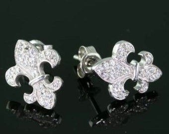 Fleur De Lis 925 Sterling Silver Rhinestone  Earrings