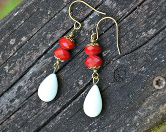 Red and White Earrings with vintage white ceramic teardrop charms handmade jewelry gift