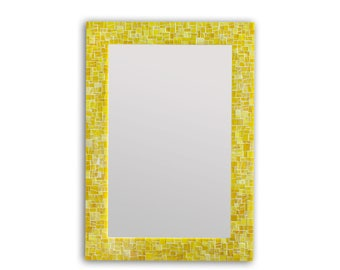 Mosaic Mirror – Wall Mirror - Yellow Bathroom Mirror in Stained Glass Tile