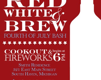 Red, White and Brew  - July 4th Party Invitation