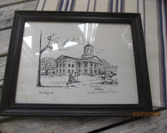 Vintage Numbered Print HA Moore Harrison County Courthouse Ohio 54/150 Artist Signed Print in Wood Frame