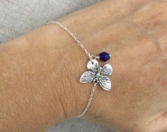 Birthstone bracelet, Butterfly Charm Bracelet with birthstone Crystal