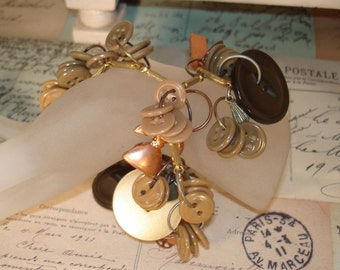 Button Charm Bracelet  Granny's Sewing Basket Meets Gramps Toolbox price reduced