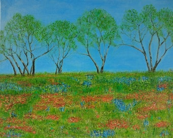 Trees. Landscape. Flowers.Title: Spring in Texas.Original painting. Landscape. Trees.