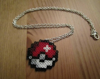 Pixel Art/beading - {Pokemon} - PokeBall necklace