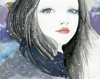 Inspiring Portrait Female Heroine, Raven Black Hair Blue Eyes, Poster Art Print, Snow Wilderness Mountain Illustration Hope Love Dreaming