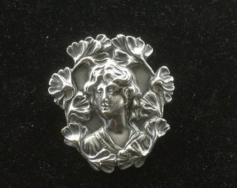 Art Nuevo Silver Plated Brooch   Flowing Hair C Clasp