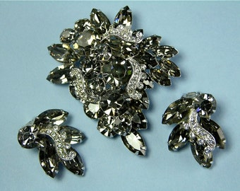 Weiss Smoke and Clear Rhinestone Demi Brooch and Earring Set (No. 1060)