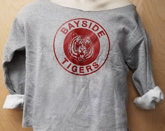 Kelly Kapowski Sweatshirt Bayside Tigers Halloween Costume TV Show High Off The Shoulder Cut Sweater Jumper 80's Style Women's Gift Idea