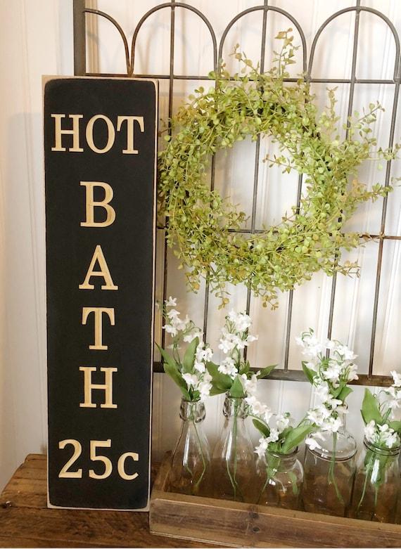 Hot Bath Wood Engraved Sign
