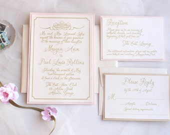 Blush and Gold Wedding Invites / Lace Wedding Invitations / Blush Wedding Invites /  Vintage Wedding / Vintage Romance Invitation Sample