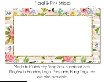 Watercolor Business Card Template - Floral & Pink Stripes, Made to Match Etsy Sets and Facebook  Covers, Business Card Template, DIY