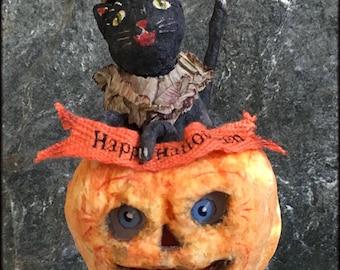 Spun Cotton Happy Halloween Kitty Inside Jack o Lantern with Paper Face Insert OOAK Folk Art on Vintage Spool