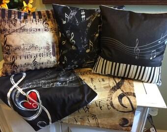18x18 Decorative Cotton Linen Plush Throw Pillow Covers Music Treble Clef Keyboard Piano