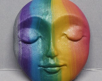 Vertical Rainbow Stripes Polymer Clay Art Doll Face Cabochon Red, Orange, Yellow, Green, Blue, Purple