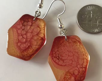 Fluid Art Earrings, OOAK Hand Painted Jewelry, Unique and Thought Provoking, EXPRESS YOURSELF!(also made to order) Red Orange Yellow