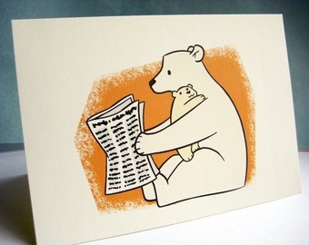 Happy Father's Day card - blank inside - Papa bear Trying to Read the Paper