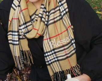 Gift For Her & Him,  Embroidered Scarf, Unisex Checkered Scarf, Winter Wear,GIFT WRAPPED