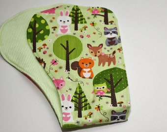 Contoured Burp Rag:  Baby Woodland Animals on Green with Light Green and White Striped flannel