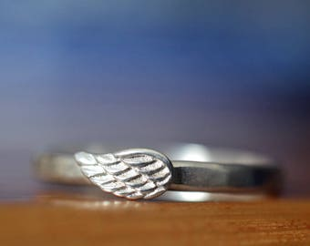 Silver Angel Wing Ring, Bird's Feather Wing Charm, Personalized Gift, Inspirational or Memorial Jewelry, Angelic Promise Jewelry