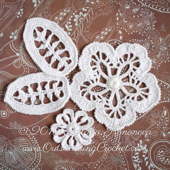 Irish crochet flower leaf pattern applique flower leaf lace irish crochet flower leaf pattern applique flower leaf lace motifs crochet embellishment pdf step by step pictures from outstandingcrochet on etsy dt1010fo