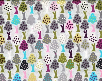 Colorful trees and a gray background cotton fabric