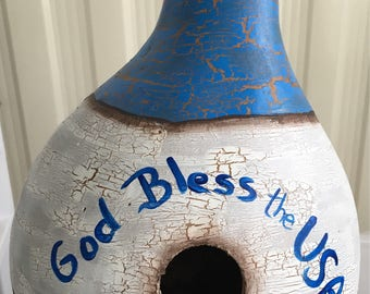Hand painted gourd birdhouse
