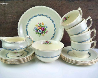 Vintage Myott Staffordshire England China Floral Decor Pale Grey Blue Border Tea Set Retro English Chinaware Vintage Tea Party Drinkware & Vintage Palissy England u0027Shadow Roseu0027 Tall China