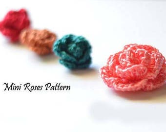 Crochet Mini Rose Pattern, Crochet Rose Pattern, PDF Pattern & Instructions, Crochet Roses