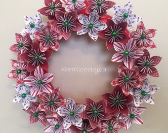 Origami Paper Flower Wreath / Christmas wreath, paper flower, paper wreath, origami wreath, paper flower wreath, kusudama, paper bouquet