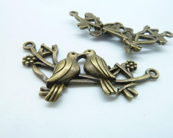 8pcs 25x45mm Antique Bronze Lovely Two Kissing Birds On The Branch Charm Pendant C1696