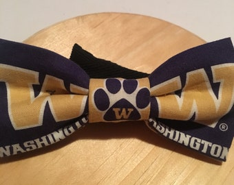 "Washington Huskies bow tie,Huskies bow tie, graduation bow tie, alumni bow tie. Pre-tied cotton with 18"" adjustable strap"