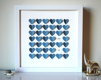Baby Gift, Personalized 3D You Are My Sunshine Song Hearts - Blue (Unique baby shower gift)