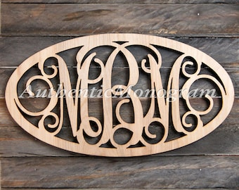 Wooden Monogram Oval Framed - Unpainted Vine Script Monogram, Home Decor, Wedding Decor, Initial Monogram, Dorm Decor, Personalized Gift