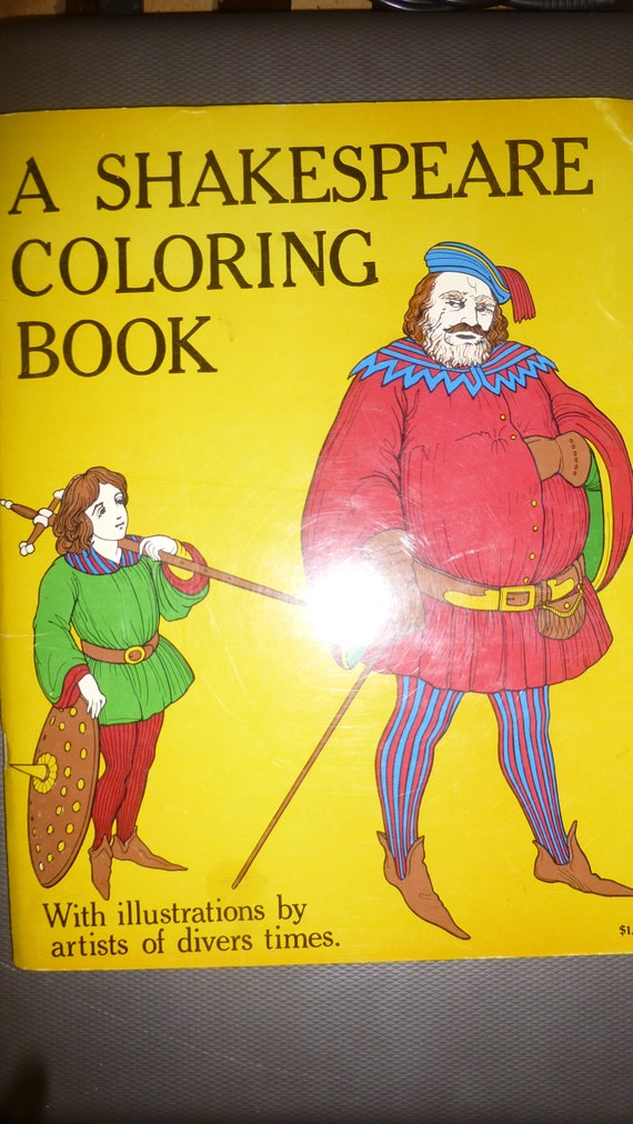 Shakespeare Coloring Book 1970 Bellerophon Books Adult or