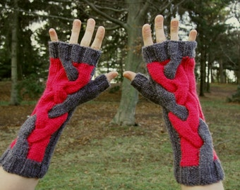 Pink and Grey Knit Arm Warmers - Cable Knit Fingerless Gloves - Pink Grey Gloves - Knit Wrist Warmers Cable Knit Gloves - Vegan Knit Gloves