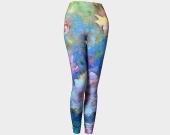 Dreams of Love Yoga Leggings Workout Leggings Flower Pants Peony Flowers Pink and Blue Floral Womens Legging Dance Exercise Women Teens Art