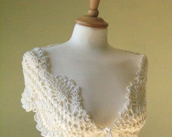 Handmade crocheted lace scarf in off white/ cream/ light ivory